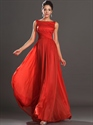 Show details for Red Bateau Neckline Chiffon Floor Length Prom Dress With Open Back