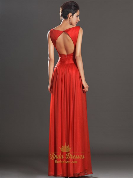 Red Bateau Neckline Chiffon Floor Length Prom Dress With Open Back