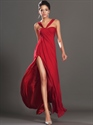 Red A-Line Empire Waist Split Side Chiffon Floor Length Prom Dress