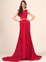 Show details for Elegant Red One Shoulder Chiffon Ruched Bodice Prom Dress With Lace Trim
