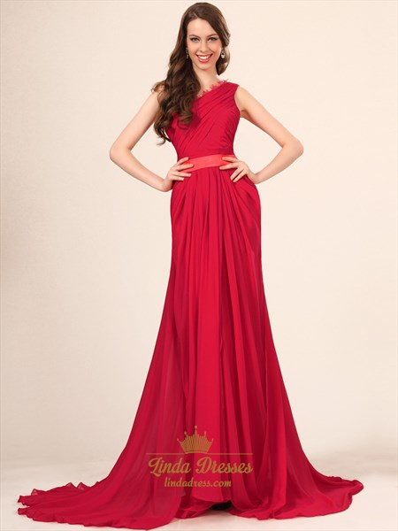 Elegant Red One Shoulder Chiffon Ruched Bodice Prom Dress With Lace Trim