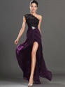 Black And Purple One Shoulder Lace Bodice Prom Dresses With High Slits