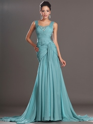 Turquoise Chiffon Sheath Floor-Length Prom Dress With Beaded Detail