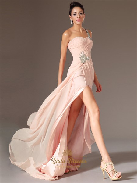 Peach Chiffon One Shoulder Beaded Prom Dress With Pleated Bodice