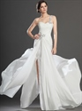 Show details for Ivory Chiffon One Shoulder Beaded Prom Dress With Pleated Bodice
