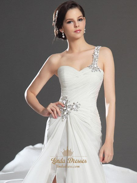 Ivory Chiffon One Shoulder Beaded Prom Dress With Pleated Bodice