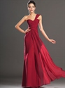 Show details for Elegant Red One Shoulder Chiffon Prom Dress With Pleated Bodice