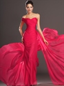 Show details for Hot Pink One Shoulder Chiffon Mermaid Prom Dress With Pleated Bodice