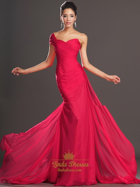 Hot Pink One Shoulder Chiffon Mermaid Prom Dress With Pleated Bodice