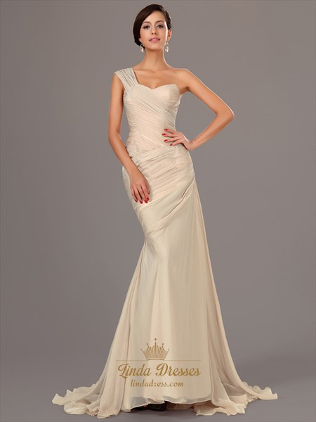 Show details for Champagne One Shoulder Ruched Bodice Mermaid Chiffon Prom Dress