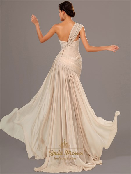 Champagne One Shoulder Ruched Bodice Mermaid Chiffon Prom Dress