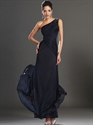 Show details for Navy Blue One Shoulder Sheath Chiffon Prom Dress With Beaded Straps