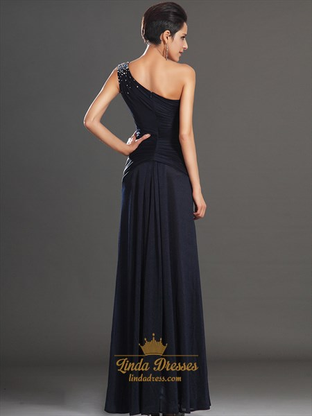 Navy Blue One Shoulder Sheath Chiffon Prom Dress With Beaded Straps