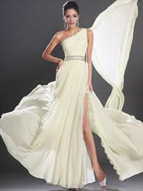 Light Yellow Chiffon One Shoulder Beaded Prom Dress With Watteau Train