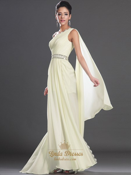 Light Yellow Chiffon One Shoulder Beaded Prom Dress With Watteau Train