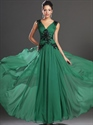 Show details for Emerald Green Chiffon V-Neck Prom Dresses With Beaded Lace Applique
