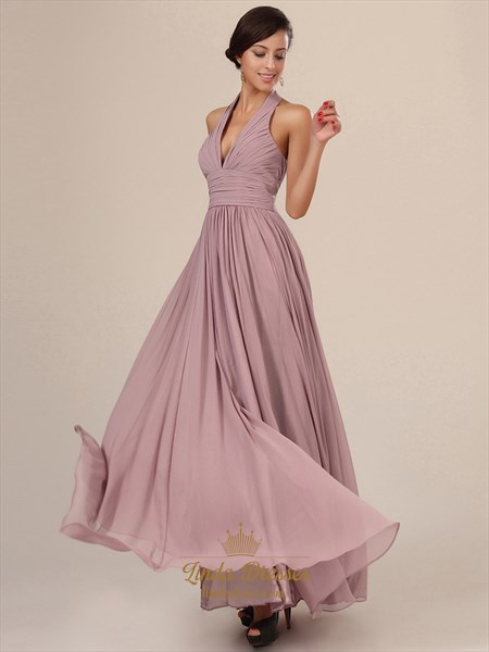 Skin Pink Chiffon A Line Halter V Neck Prom Dress With Pleated Bust