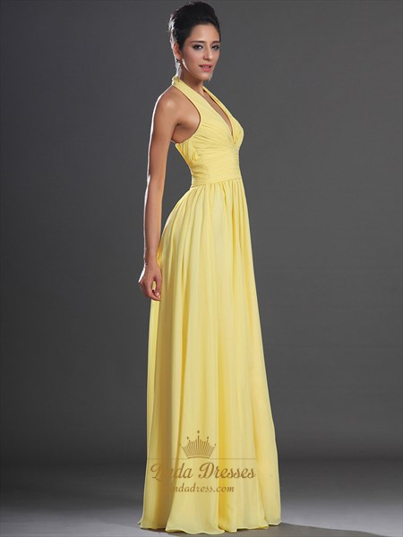 Yellow Chiffon A Line Halter V Neck Floor Length Prom Dress With Ruching