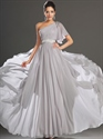Show details for Light Grey One Shoulder A Line Chiffon Prom Dress With Beaded Detail