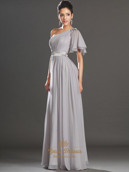 Light Grey One Shoulder A Line Chiffon Prom Dress With Beaded Detail