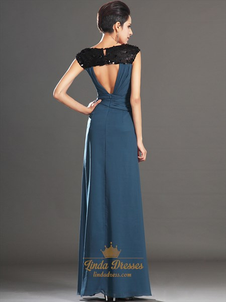 Teal Sequin Top Deep V-Neck Chiffon Long Prom Dress With Open Back