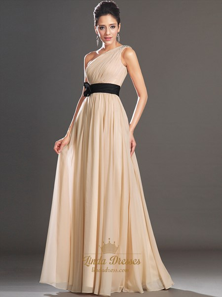 Champagne One Shoulder Beaded Straps Chiffon Prom Dress With Black Sash