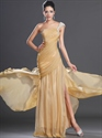 Show details for Gold One Shoulder Prom Dress With Ruched Bodice And Beaded Straps