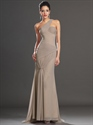 Show details for Elegant Champagne One Shoulder Chiffon Prom Dress With Pleated Bodice