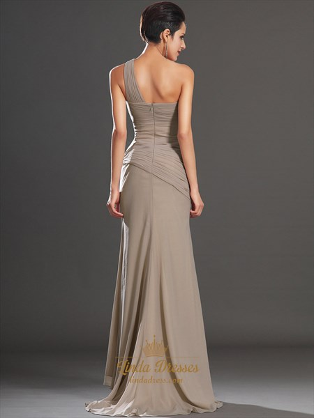 Elegant Champagne One Shoulder Chiffon Prom Dress With Pleated Bodice