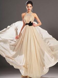 Champagne Beaded Jeweled Neckline Chiffon Prom Dress With Black Sash