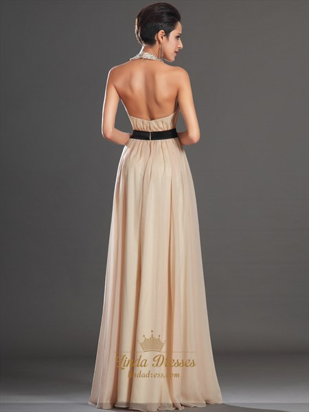 Champagne Beaded Jeweled Neckline Chiffon Prom Dress With Black Sash