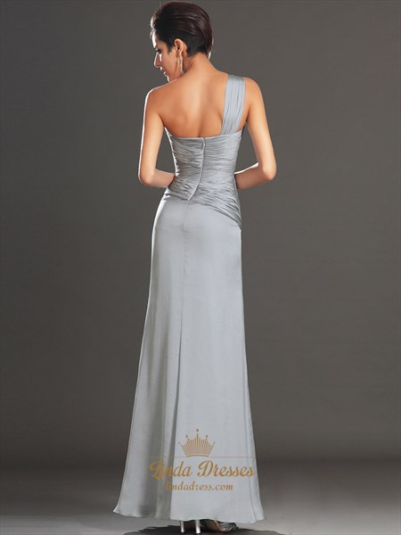 Grey Chiffon One Shoulder Pleated Bodice Prom Dress With Side Slits