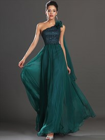 Emerald Green One Shoulder Chiffon Prom Dress With 3d Floral Detail