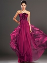 Show details for Fuchsia Strapless Chiffon Long Prom Dress With Ruffle Flower Detail
