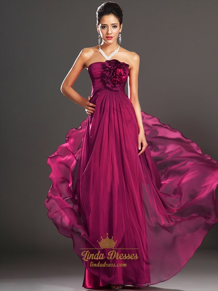 Fuchsia Strapless Chiffon Long Prom Dress With Ruffle Flower Detail