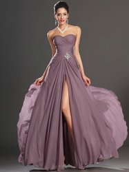 Purple Sweetheart Strapless A Line Chiffon Prom Dress With Split Front