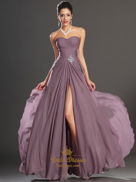 Show details for Purple Sweetheart Strapless A Line Chiffon Prom Dress With Split Front