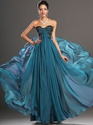 Show details for Teal Sweetheart Strapless Chiffon Prom Dress With Beaded Lace Bodice