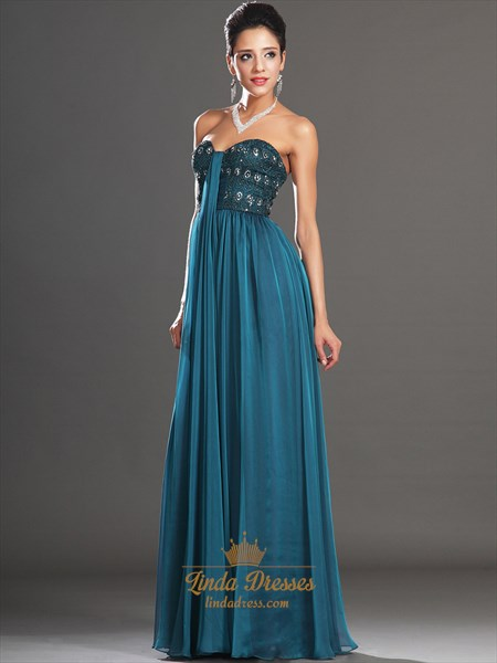 Teal Sweetheart Strapless Chiffon Prom Dress With Beaded Lace Bodice