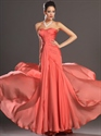 Show details for Orange Strapless Sheath Chiffon Prom Dress With Pleated Bodice