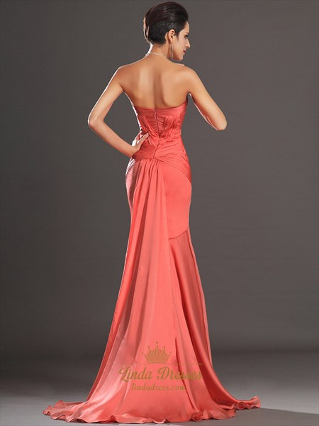 Orange Strapless Sheath Chiffon Prom Dress With Pleated Bodice