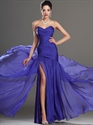 Purple Strapless Chiffon A-Line Prom Dress With Slits On The Side
