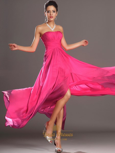 Hot Pink Strapless Chiffon Side Split Prom Dresses With Pleated Bodice