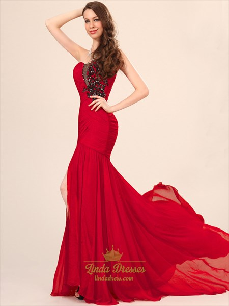 Red Strapless Mermaid Chiffon Prom Dress With Beaded Applique Detail