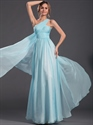 Show details for Light Blue A-Line One Shoulder Chiffon Floor-Length Prom Dress