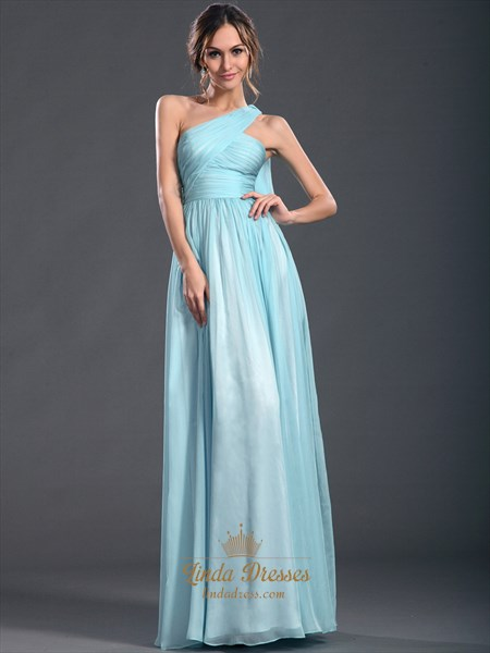 Light Blue A-Line One Shoulder Chiffon Floor-Length Prom Dress