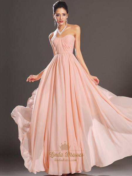 Dusty Pink Strapless A-Line Chiffon Bridesmaid Dresses With Ruching