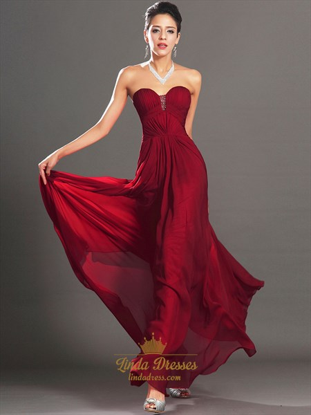 Burgundy Sweetheart Strapless Chiffon Prom Dress With Beaded Detail