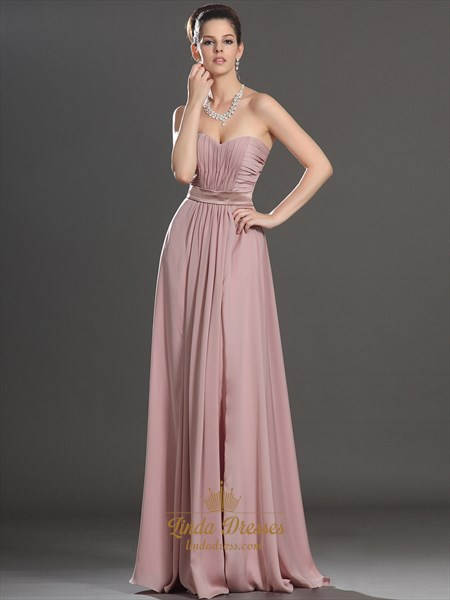 Dusty Pink A-Line Sweetheart Strapless Ruched Chiffon Bridesmaid Dress