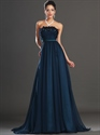 Show details for Navy Blue Strapless A Line Chiffon Prom Dress With Embellished Bodice